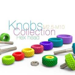 Download free STL files Knobs Collection for Bolt Hex head and Nut M2.5-M10, perinski