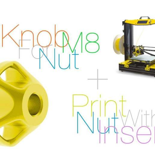 Download free 3D printing templates Knob for nut M8. Print with nut insert, perinski