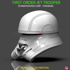 Download STL files First Order JET TROOPER Helmet - Stormtrooper Corp - STARWARS 3D print model, Bstar3Dart