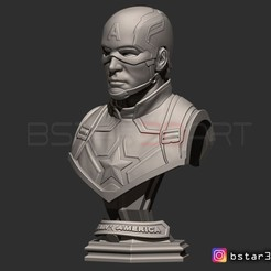 Download 3D printing files Captain America bust with Helmet - Infinity War - Endgame - Marvel, Bstar3Dart