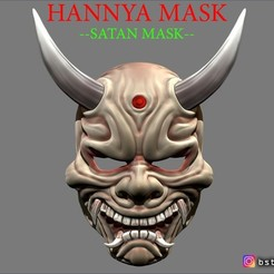 Download STL file Hannya Mask -Satan Mask - Demon Mask for cosplay, Bstar3Dart