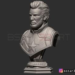 Fichier 3D CAPTAIN AMERICA BUST SANS CASQUE - INFINITY WAR - ENDGAME - MARVEL, Bstar3Dprint