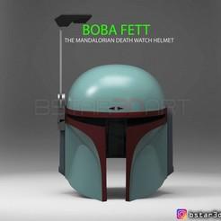 boba.4a.jpg Download STL file Boba Fett Helmet - Mandalorian Death watch Hemet 3D print model • 3D printable object, Bstar3Dart