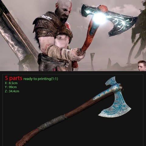 Download 3D printing models weapon Kratos - Leviathan Axe - God of war 2018 for cosplay, Bstar3Dart