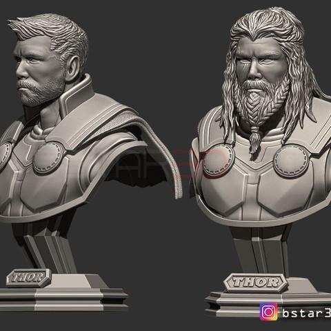 Fichier 3D Buste Thor Buste Vengeur 4 buste - 2 Têtes - Guerre de l'infini - Modèle d'impression 3D de fin de partie, Bstar3Dprint