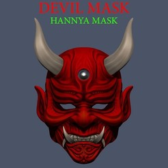 001.jpg Download STL file Devil Mask-Hannya Mask-Samurai Mask-Satan mask for cosplay 3D print model • 3D printer design, Bstar3Dart
