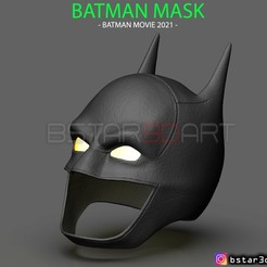 001.jpg Télécharger fichier STL Batman Mask - Robert Pattinson - The Batman 2021 - DC comic • Objet à imprimer en 3D, Bstar3Dart