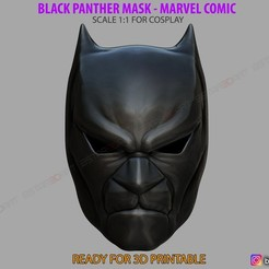 01.jpg Download STL file Black Panther Mask - Helmet for cosplay - Marvel comics • 3D printable model, Bstar3Dart