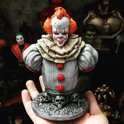 A8B20293-232C-4002-A0ED-5524B9187322.jpeg Download STL file Pennywise Bust High quality - IT chapter Two - Halloween 3D print • 3D printer object, Bstar3Dart