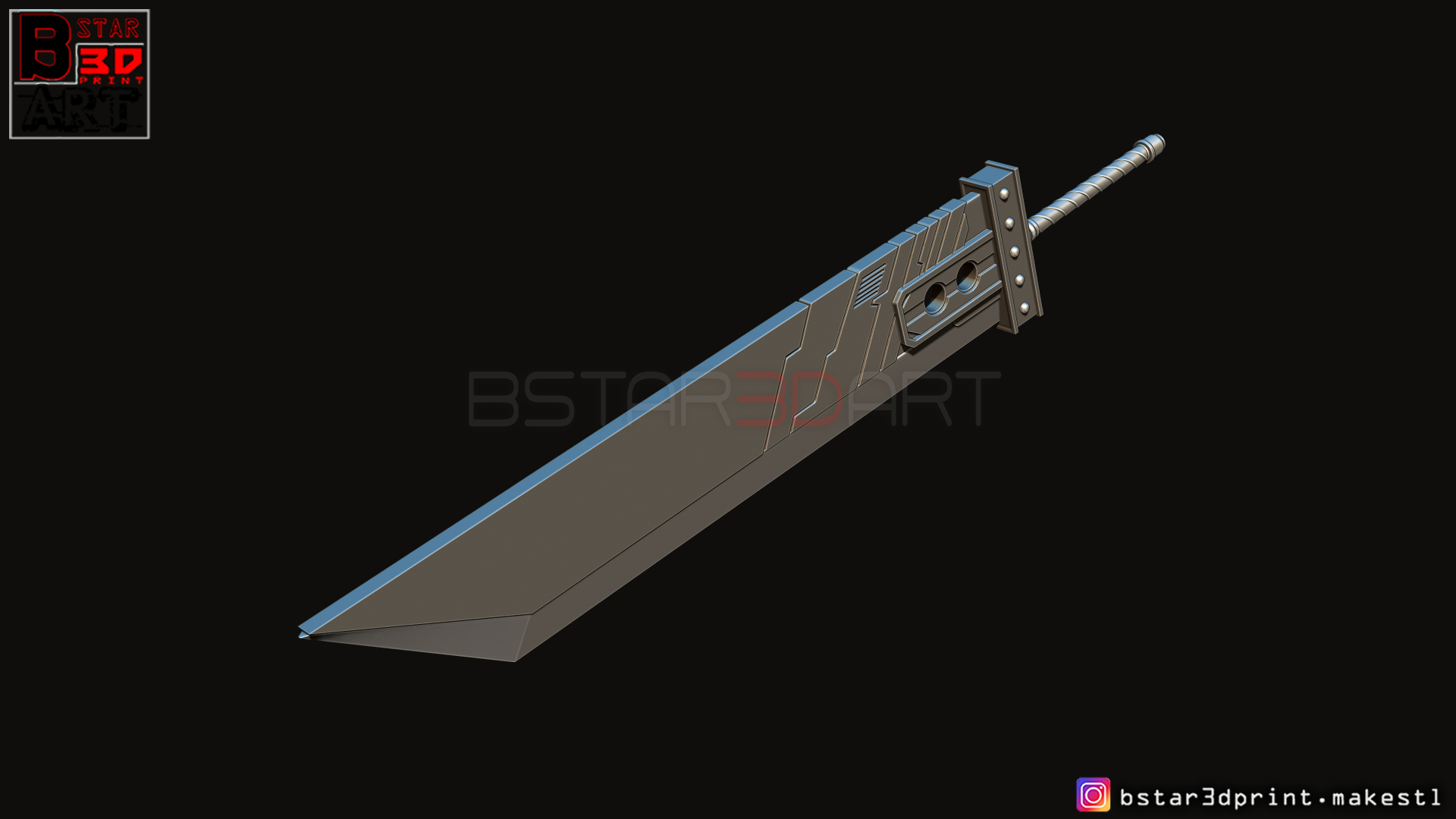 05.jpg Download STL file Buster Sword Cloud - Final Fantasy VII Remake • 3D printable template, Bstar3Dart
