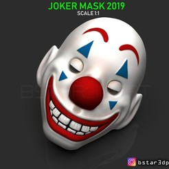 Download STL CLOWN MASK 2019 - Joker Mask 2019 - HALLOWEEN MASK - Joker movie 2019, Bstar3Dart