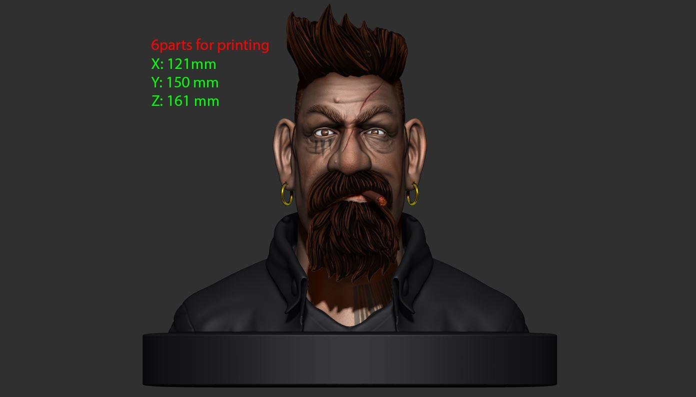 15.JPG Download STL file Zombie Hunter Bust  • Template to 3D print, Bstar3Dart