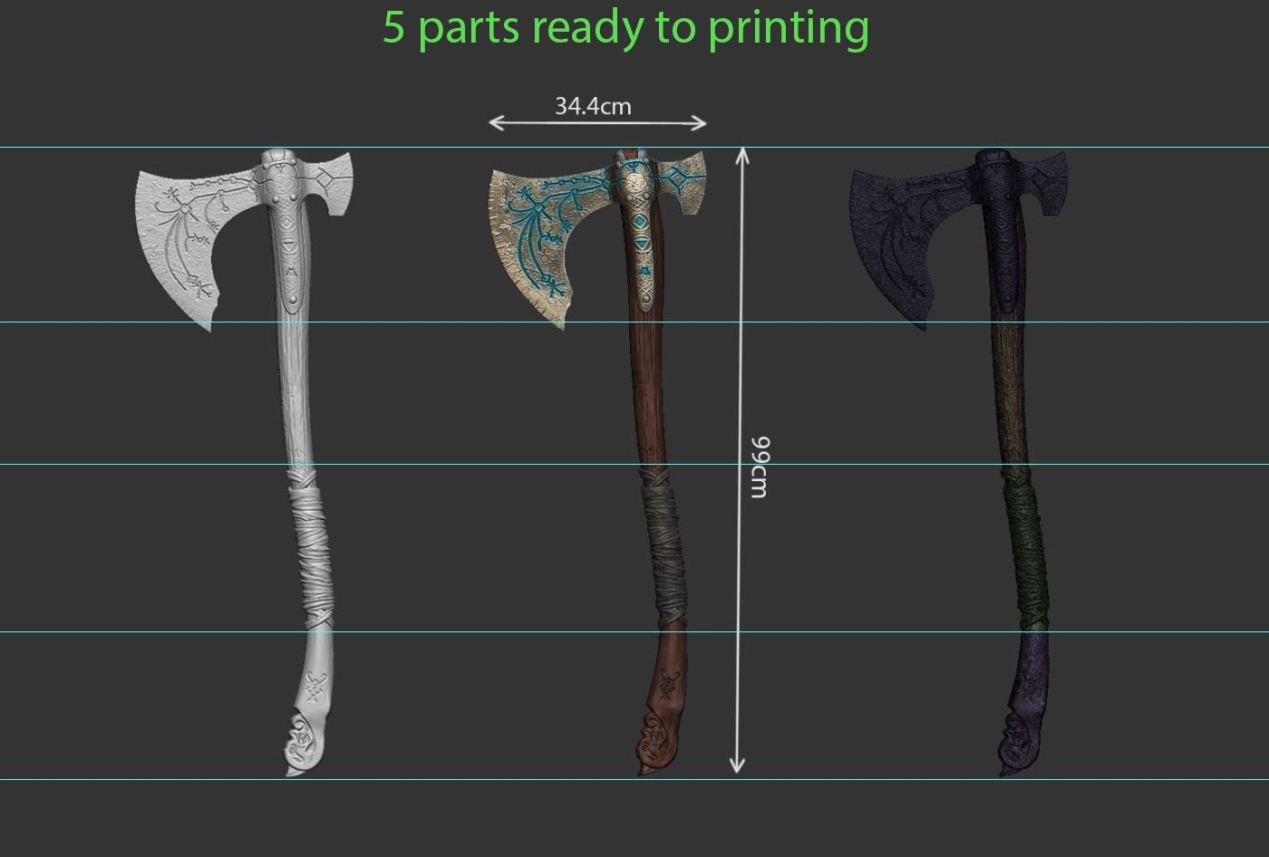 18.JPG Download OBJ file weapon Kratos - Leviathan Axe - God of war 2018 for cosplay • 3D printable design, Bstar3Dart