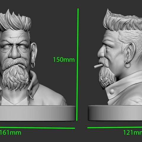14.JPG Download STL file Zombie Hunter Bust  • Template to 3D print, Bstar3Dart