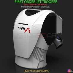 Download STL files First Order JET TROOPER - Chest Armor - backpack - StormTrooper Corp, Bstar3Dart