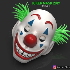 Download 3D printer files CLOWN MASK 2019 - Joker Mask 2019 With Hair from Joker movie 2019 scale 1:1 For cosplay, Bstar3Dart