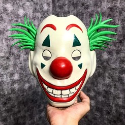 Descargar modelos 3D CLOWN MASK 2019 - Joker Mask 2019 With Hair from Joker movie 2019 escala 1:1 Para cosplay, Bstar3Dart