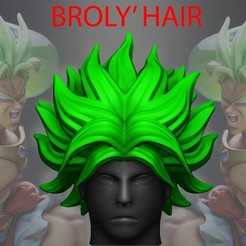 Archivos 3D Broly Hair - Dragon ball - Para Cosplay, Bstar3Dprint