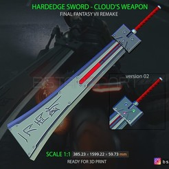 Télécharger fichier imprimante 3D HardEdge Sword Cloud - Final Fantasy VII remake 3D print model, Bstar3Dart