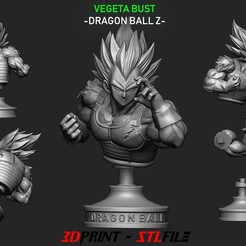 Vegeta Bust - dragonball Z STL file, blackstar90