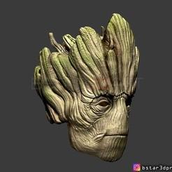 08.jpg Download STL file Groot mask - Guardians of the Galaxy - Marvel comics cosplay 3D print model • 3D printing template, Bstar3Dart