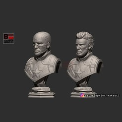 Download 3D printer designs Captain America Bust - with 2 Heads from Marvel, Bstar3Dart