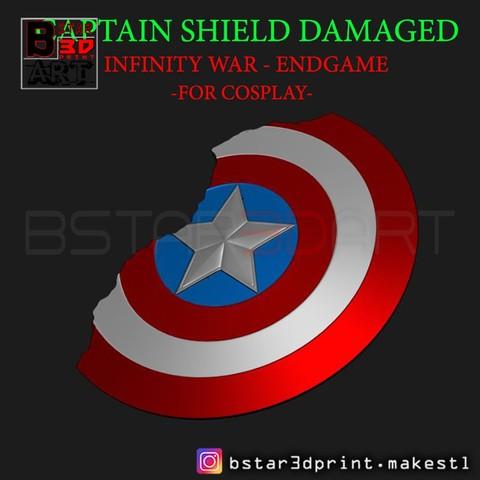 STL El Escudo del Capitán América Dañado - Infinity War - Endgame-Marvel, Bstar3Dprint