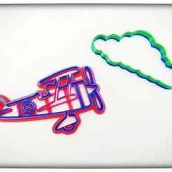 Descargar archivos 3D cutter cookie avioneta  light aircraft cut airplane cortante nube cloud, blop3d