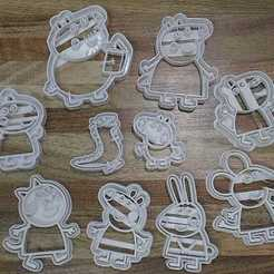STL file 10 Peppa Pig Cutters - Family & Friends, blop3d