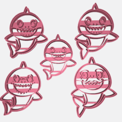 family shark.png Download STL file BABY SHARK PACK 5 COOKIE CUTTER • 3D printer object, Blop3D