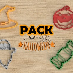 Download 3D printer designs PACK 4 HALLOWEEN CUTTER COOKIE, Blop3D