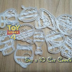Download 3D printing designs TOY STORY 4 - PACK X 10 COOKIE CUTTER, blop3d