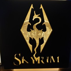 Download 3D printing templates Skyrim Plaque - Lithophane, junkie_ball