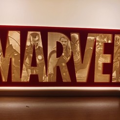 20190326_201514.jpg Download STL file Marvel Logo Lithophane - The Original Avengers • 3D printer design, junkie_ball