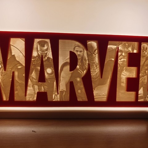 Download 3D printer model Marvel Logo Lithophane, junkie_ball