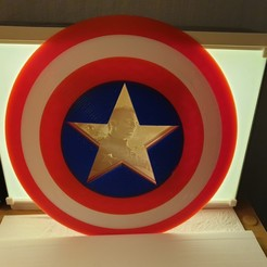 Télécharger fichier impression 3D Captain America Lithophane Shield (Marvel), junkie_ball