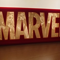 Download 3D printer files Marvel Logo Lithophane - The Ladies, junkie_ball