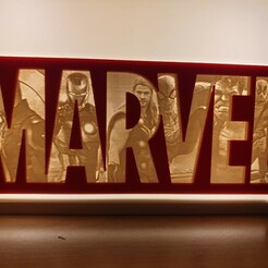 20190326_201514.jpg Download STL file MARVEL LOGO LITHOPHANE - THE COMPLETE SET • 3D printing design, junkie_ball