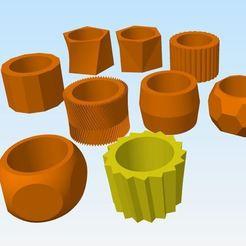 Captura.JPG Download STL file Succulent pots 9 shapes • 3D printer model, joakinfontana