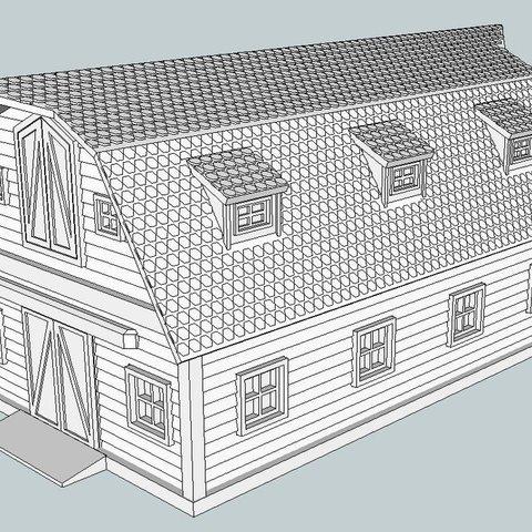 729b3396b20df9dcb6e8a5ad5ea71fc9_display_large.jpg Download free STL file HO Scale Big Red Barn • 3D printer template, kabrumble