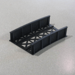 Download free 3D printing templates HO Scale 24° Curved Bridge Section, kabrumble