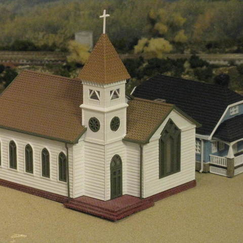 Download free 3D print files HO Scale Church, kabrumble