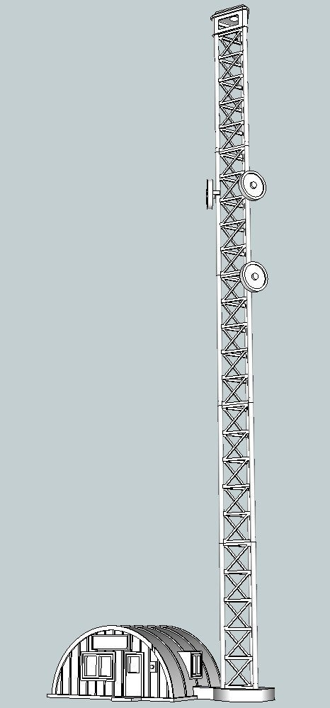 0befad130f97e95343c5f916ea07e37e_display_large.jpg Download free STL file HO Scale Broadcast Tower and Office • 3D printable object, kabrumble
