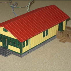 Impresiones 3D gratis HO Scale Ranch House y Deck, kabrumble