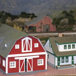 Free 3D printer designs HO Scale Big Red Barn, kabrumble