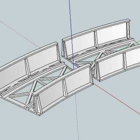 Télécharger fichier 3D gratuit Pont courbé à l'échelle HO pour rail Marklin, kabrumble