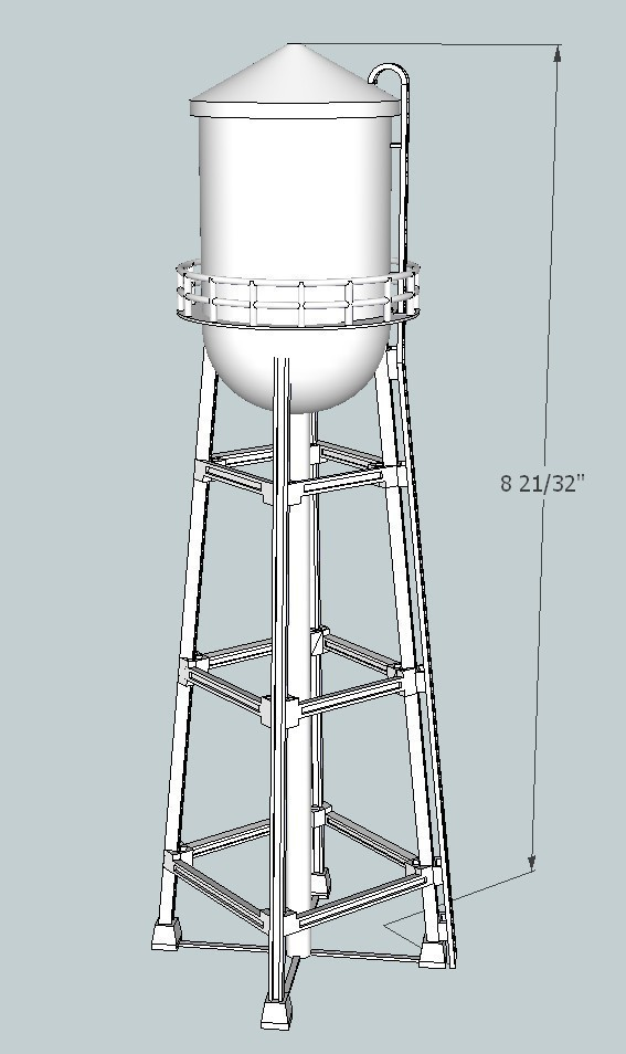 11f38ab7ad3543cd50420958f14fe7bd_display_large.jpg Download free STL file HO Scale Water Tower • Object to 3D print, kabrumble