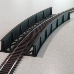 Free stl file HO Scale Curved Bridge, kabrumble