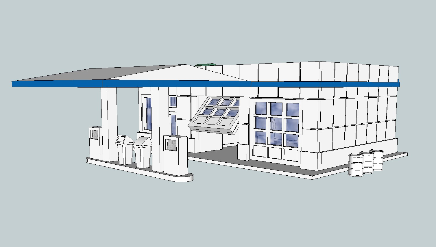 Door_Partially_Open.jpg Download free STL file HO Scale Service Station with Opening Doors • 3D printable template, kabrumble