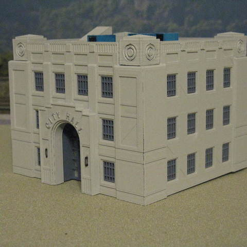 Download free STL files HO Scale City Hall, kabrumble